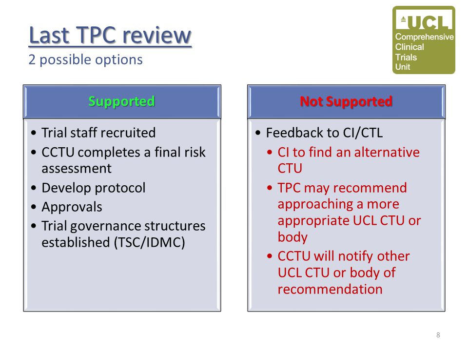 Last TPC review Last TPC review 2 possible optionsSupported Trial staff recruited CCTU completes a final risk assessment Develop protocol Approvals Trial governance structures established (TSC/IDMC) Not Supported Feedback to CI/CTL CI to find an alternative CTU TPC may recommend approaching a more appropriate UCL CTU or body CCTU will notify other UCL CTU or body of recommendation 8