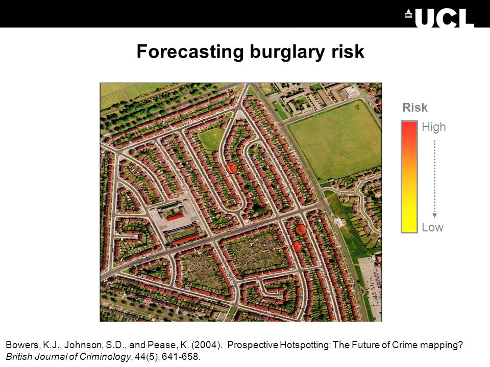 High Low Risk Forecasting burglary risk Bowers, K.J., Johnson, S.D., and Pease, K.