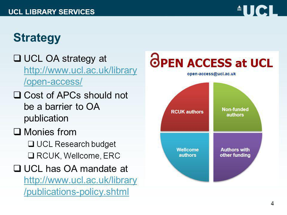 UCL LIBRARY SERVICES Strategy  UCL OA strategy at http://www.ucl.ac.uk/library /open-access/ http://www.ucl.ac.uk/library /open-access/  Cost of APCs should not be a barrier to OA publication  Monies from  UCL Research budget  RCUK, Wellcome, ERC  UCL has OA mandate at http://www.ucl.ac.uk/library /publications-policy.shtml http://www.ucl.ac.uk/library /publications-policy.shtml 4
