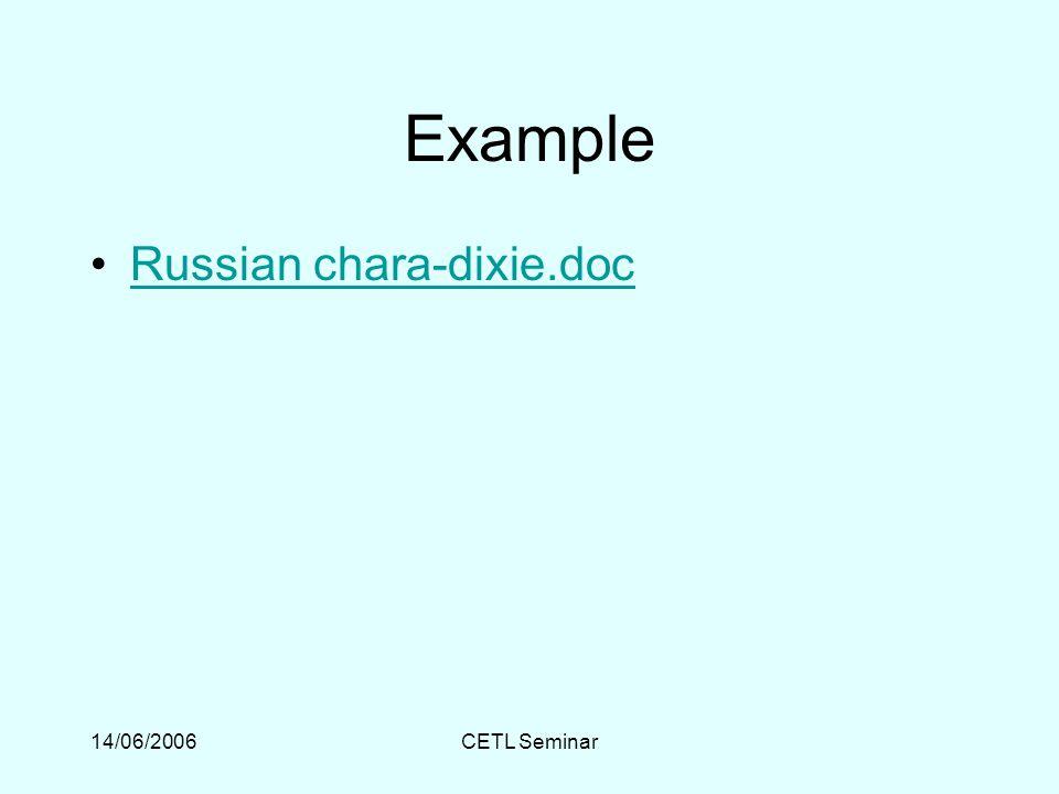 14/06/2006CETL Seminar Example Russian chara-dixie.doc