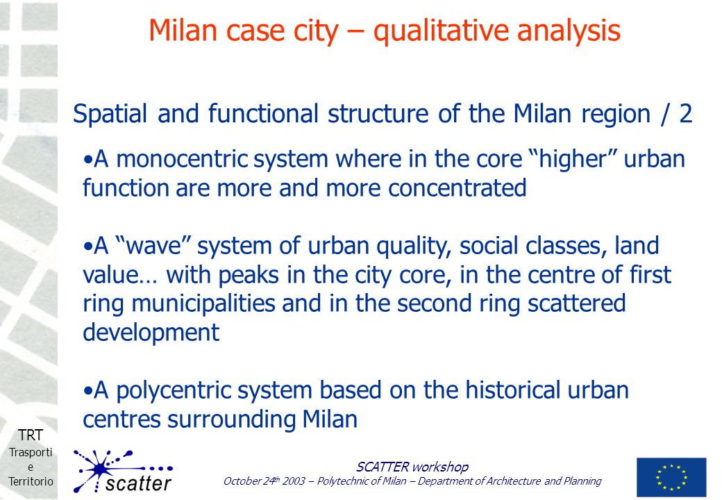 TRT Trasporti e Territorio SCATTER workshop October 24 th 2003 – Polytechnic of Milan – Department of Architecture and Planning A monocentric system w