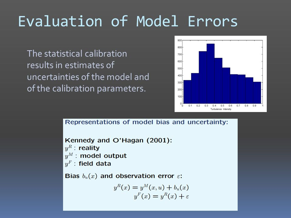 Evaluation of Model Errors The statistical calibration results in estimates of uncertainties of the model and of the calibration parameters.
