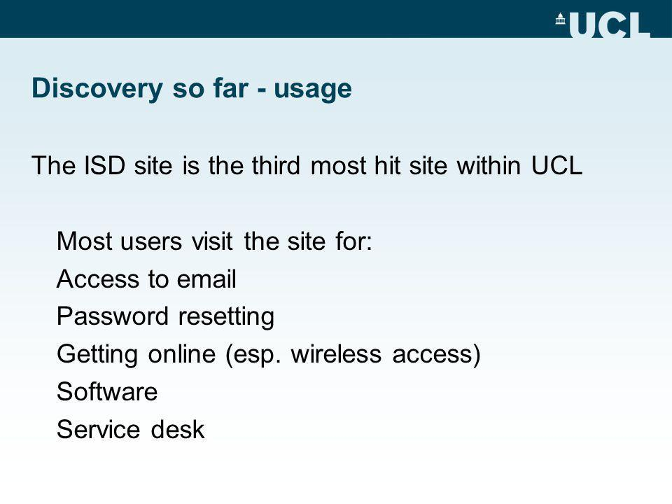 Discovery so far - usage The ISD site is the third most hit site within UCL Most users visit the site for: Access to  Password resetting Getting online (esp.