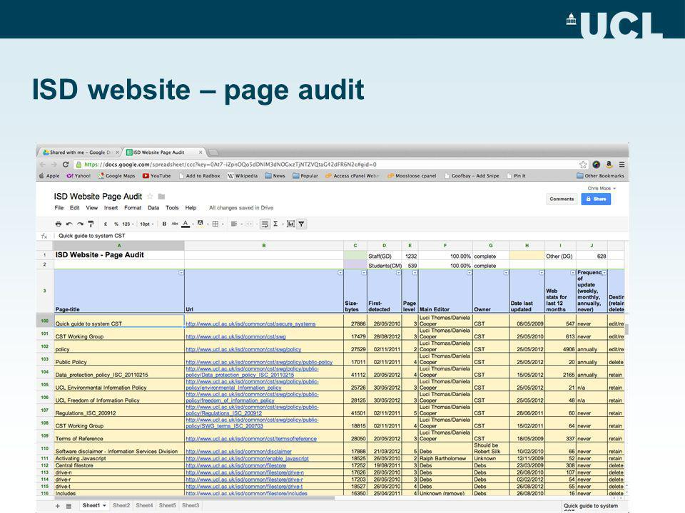 ISD website – page audit