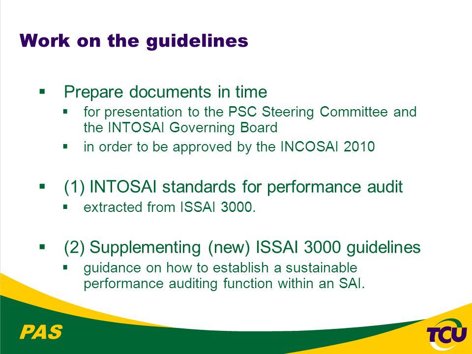 PAS Work on the guidelines  Prepare documents in time  for presentation to the PSC Steering Committee and the INTOSAI Governing Board  in order to be approved by the INCOSAI 2010  (1) INTOSAI standards for performance audit  extracted from ISSAI 3000.