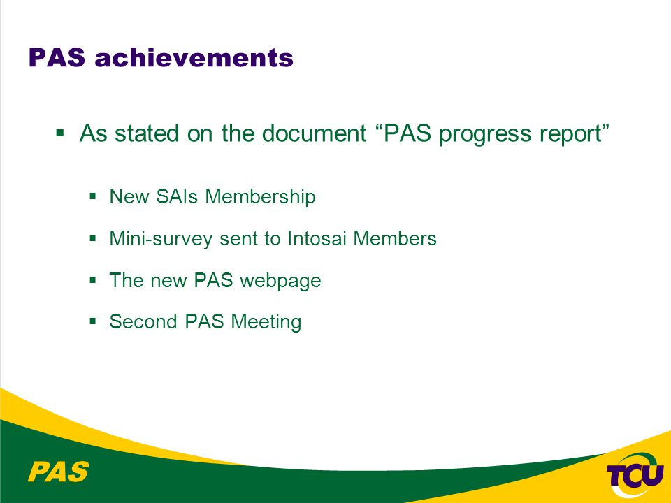 PAS Work on the guidelines  Prepare documents in time  for presentation to the PSC Steering Committee and the INTOSAI Governing Board  in order to be approved by the INCOSAI 2010  (1) INTOSAI standards for performance audit  extracted from ISSAI 3000.