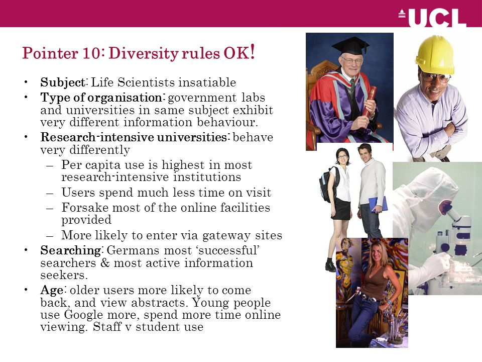 Pointer 10: Diversity rules OK .