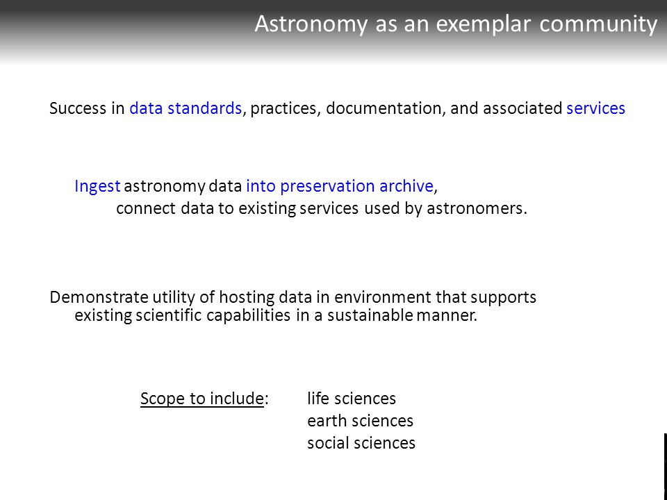 Success in data standards, practices, documentation, and associated services Ingest astronomy data into preservation archive, connect data to existing