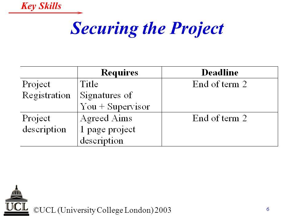© ©UCL (University College London) 2003 Key Skills 17 Logbook n Always date every entry.