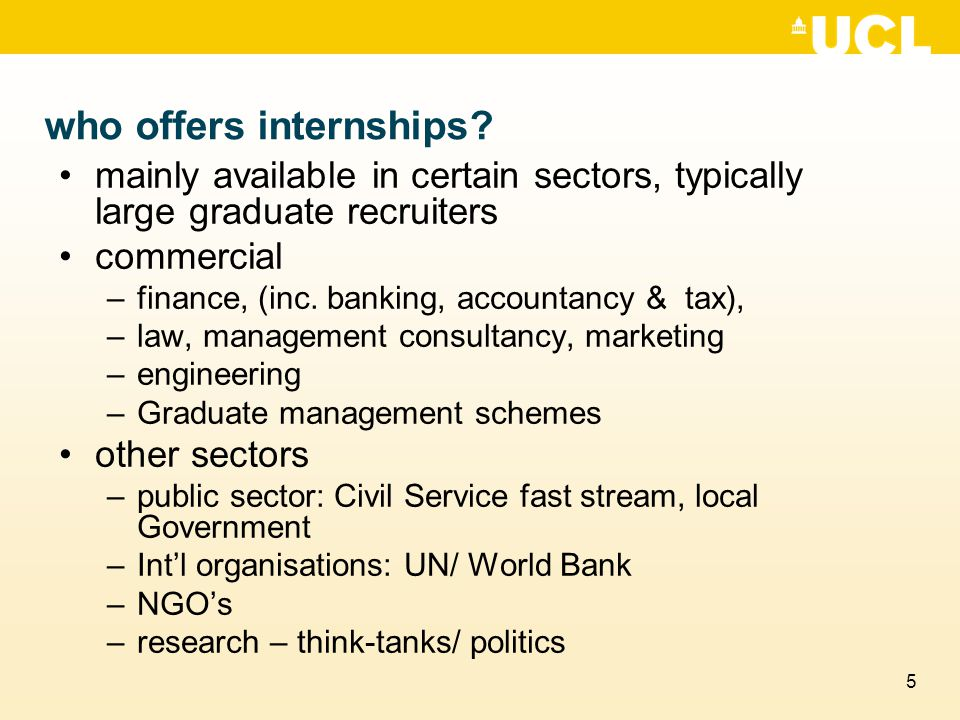 5 who offers internships.