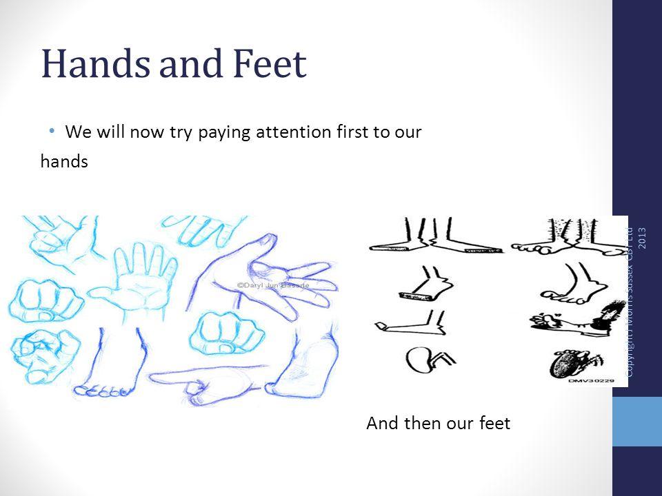 Hands and Feet We will now try paying attention first to our hands And then our feet Copyright J Morris Sussex CBT Ltd 2013