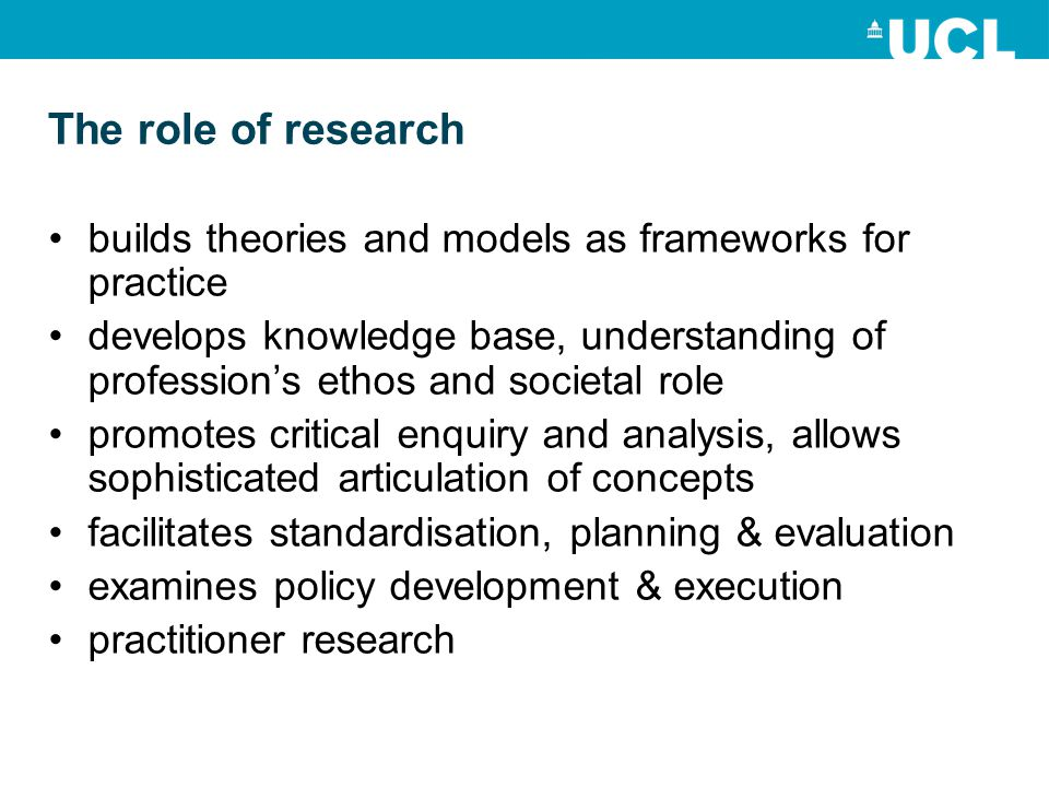The role of research builds theories and models as frameworks for practice develops knowledge base, understanding of profession's ethos and societal r