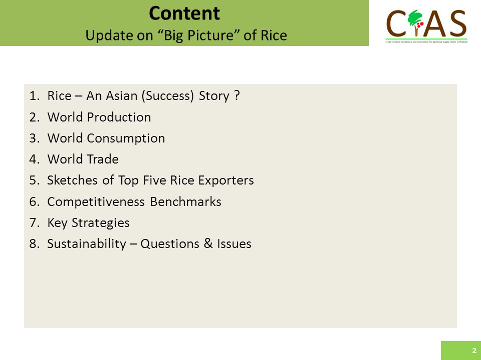 Content Update on Big Picture of Rice 1.Rice – An Asian (Success) Story .