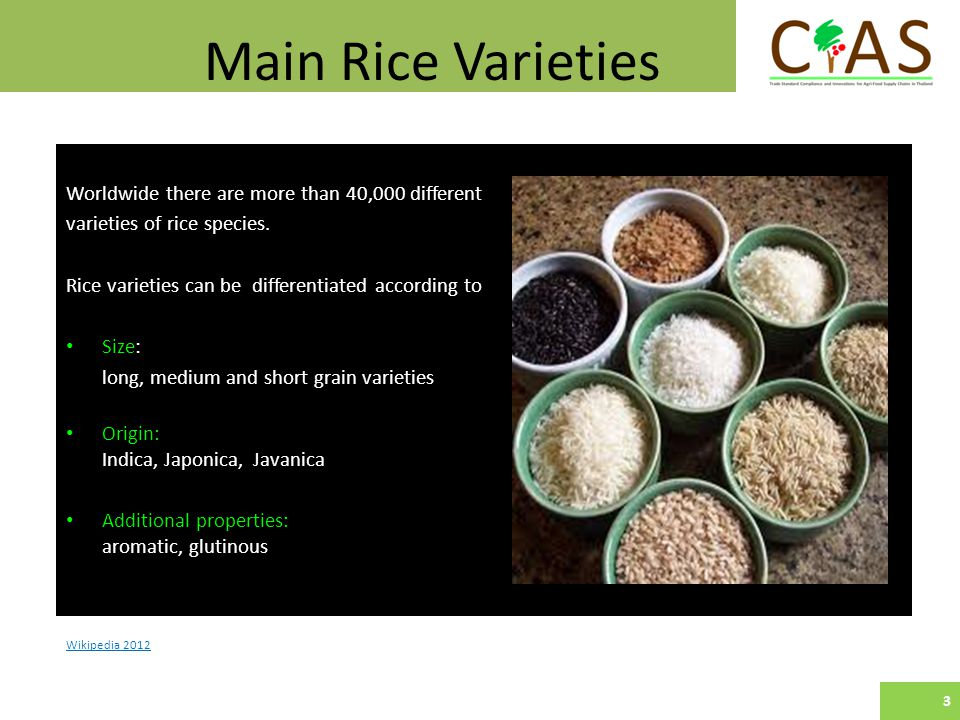 Main Rice Varieties Wikipedia 2012 Worldwide there are more than 40,000 different varieties of rice species.