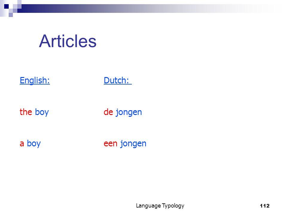 112 Language Typology Articles English:Dutch: the boyde jongen a boyeen jongen