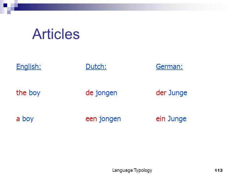 113 Language Typology Articles English:Dutch:German: the boyde jongender Junge a boyeen jongenein Junge