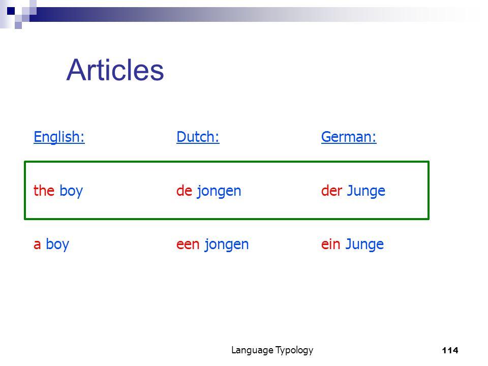 114 Language Typology Articles English:Dutch:German: the boyde jongender Junge a boyeen jongenein Junge
