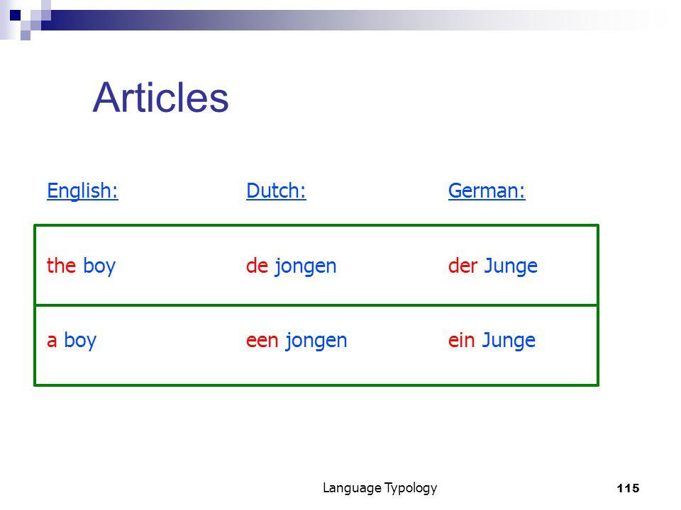 115 Language Typology Articles English:Dutch:German: the boyde jongender Junge a boyeen jongenein Junge