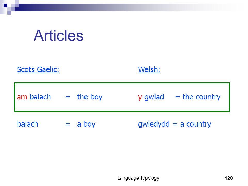 120 Language Typology Articles Scots Gaelic:Welsh: am balach=the boyy gwlad= the country balach= a boygwledydd = a country