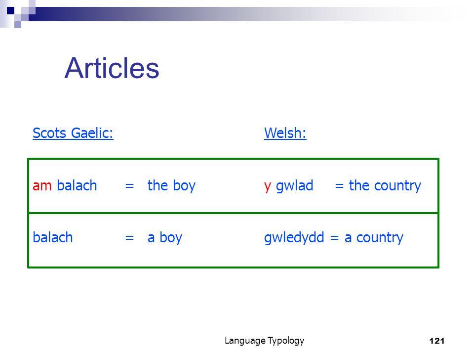 121 Language Typology Articles Scots Gaelic:Welsh: am balach=the boyy gwlad= the country balach= a boygwledydd = a country