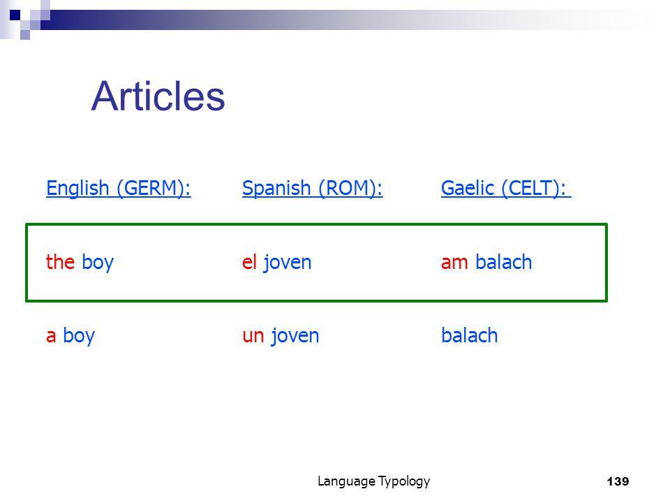 139 Language Typology Articles English (GERM):Spanish (ROM):Gaelic (CELT): the boyel jovenam balach a boyun jovenbalach