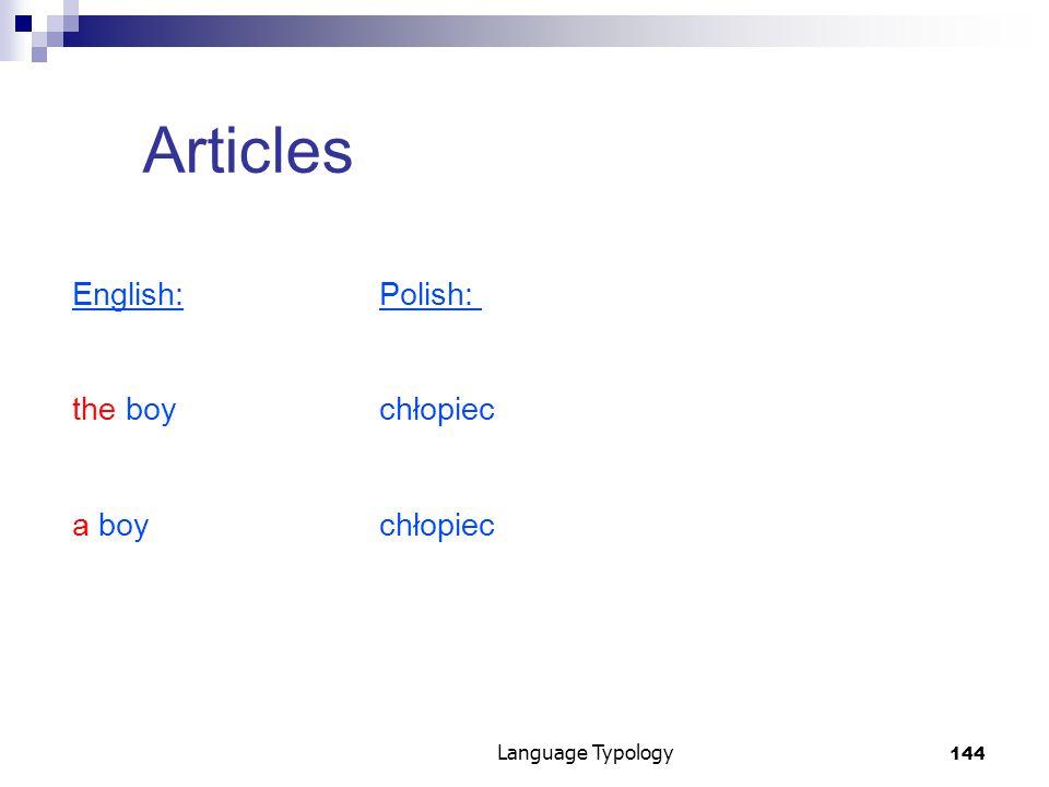 144 Language Typology Articles English:Polish: the boychłopiec a boychłopiec