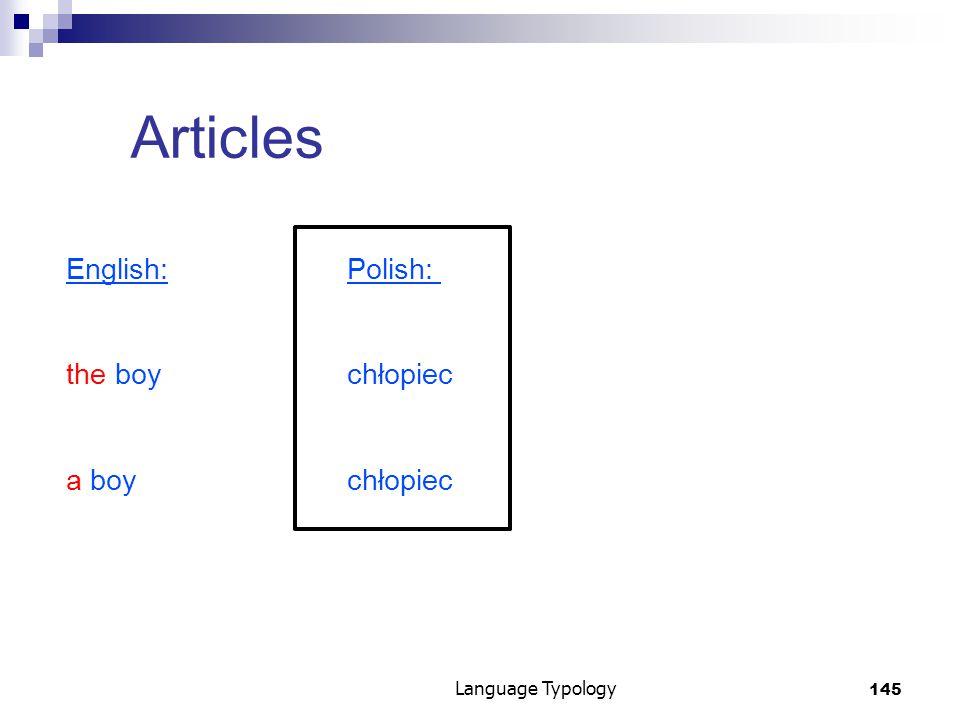 145 Language Typology Articles English:Polish: the boychłopiec a boychłopiec