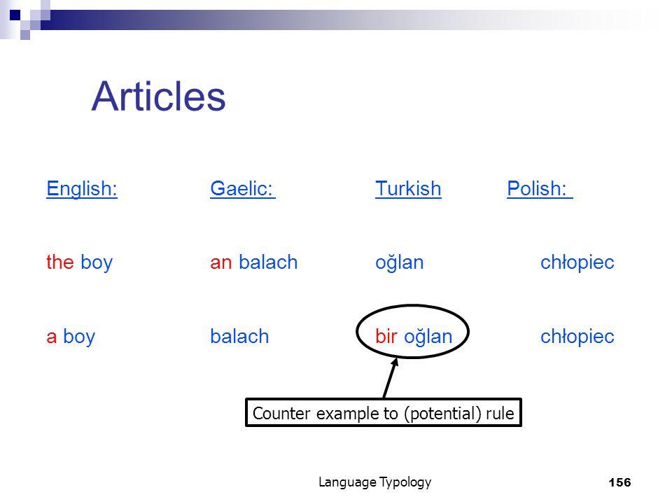 156 Language Typology Articles English:Gaelic:TurkishPolish: the boyan balachoğlanchłopiec a boybalachbir oğlan chłopiec Counter example to (potential) rule