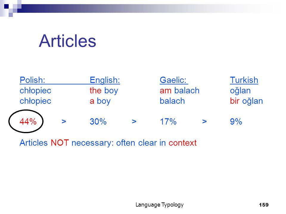 159 Language Typology Articles Polish:English:Gaelic:Turkish chłopiec the boyam balachoğlan chłopiec a boybalachbir oğlan 44%>30%>17%>9% Articles NOT necessary: often clear in context