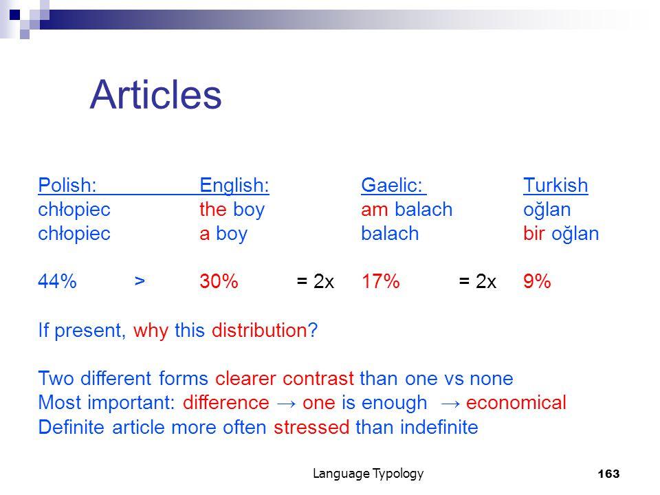 163 Language Typology Articles Polish:English:Gaelic:Turkish chłopiec the boyam balachoğlan chłopiec a boybalachbir oğlan 44%>30%= 2x17%= 2x9% If present, why this distribution.