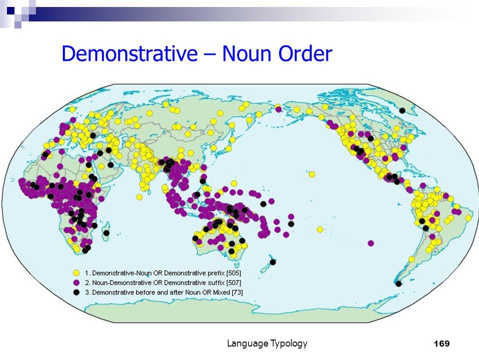 169 Language Typology Demonstrative – Noun Order