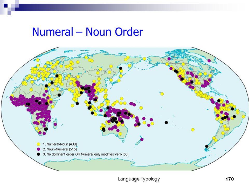 170 Language Typology Numeral – Noun Order