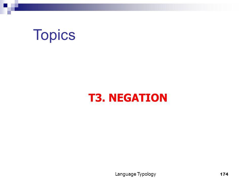 174 Language Typology Topics T3. NEGATION