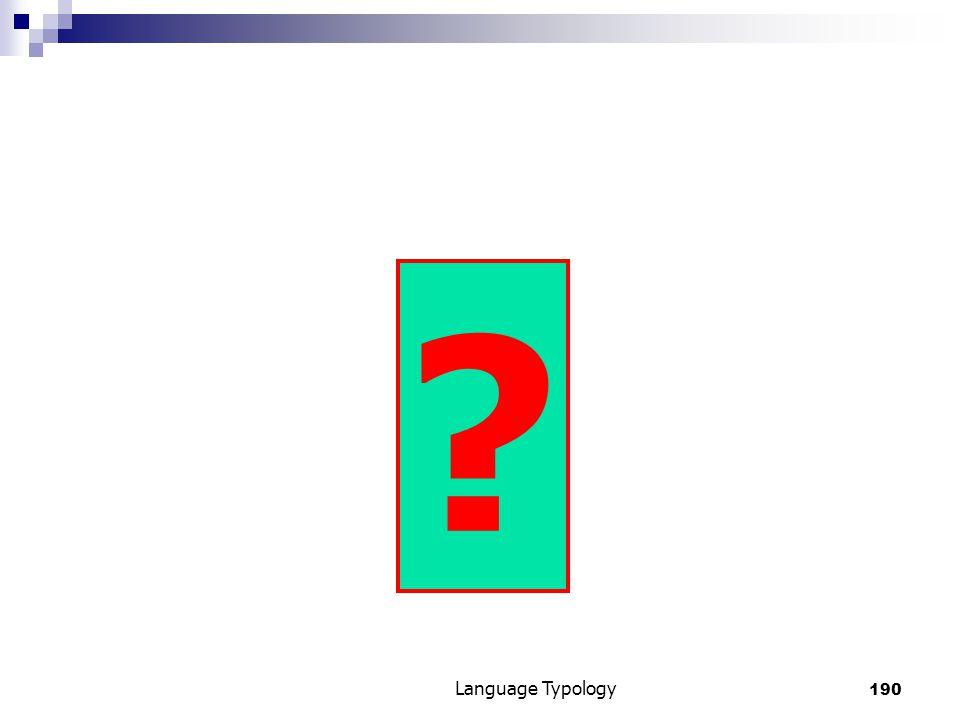 190 Language Typology ?