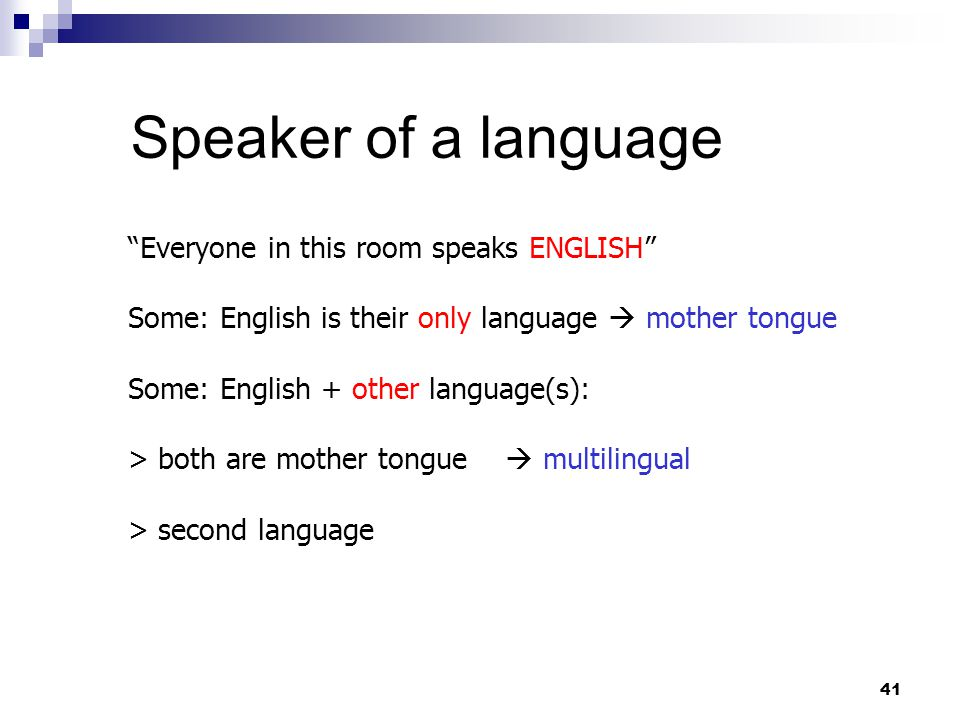 41 Speaker of a language Everyone in this room speaks ENGLISH Some: English is their only language  mother tongue Some: English + other language(s): > both are mother tongue  multilingual > second language