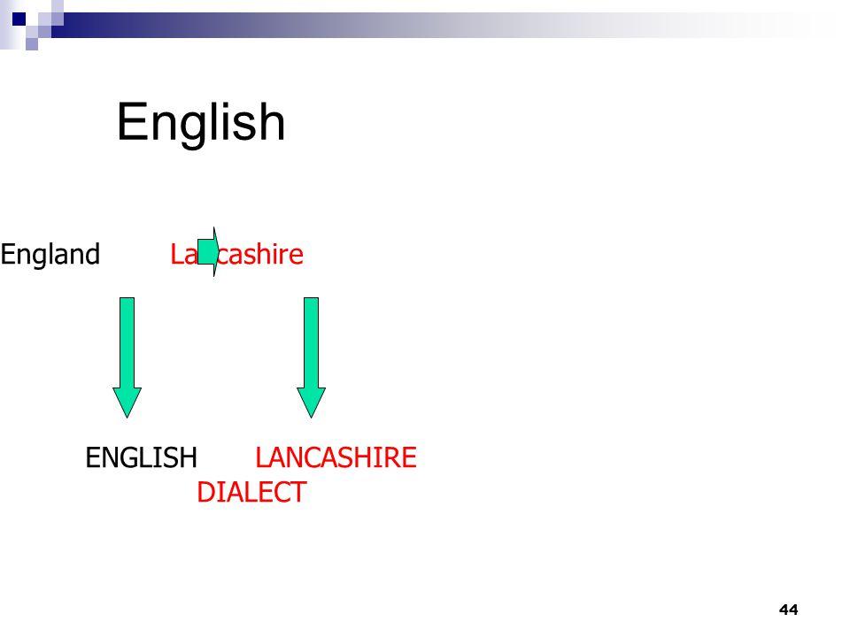 44 English EnglandLancashire ENGLISHLANCASHIRE DIALECT