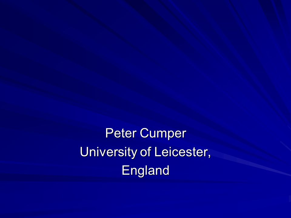 Peter Cumper University of Leicester, England