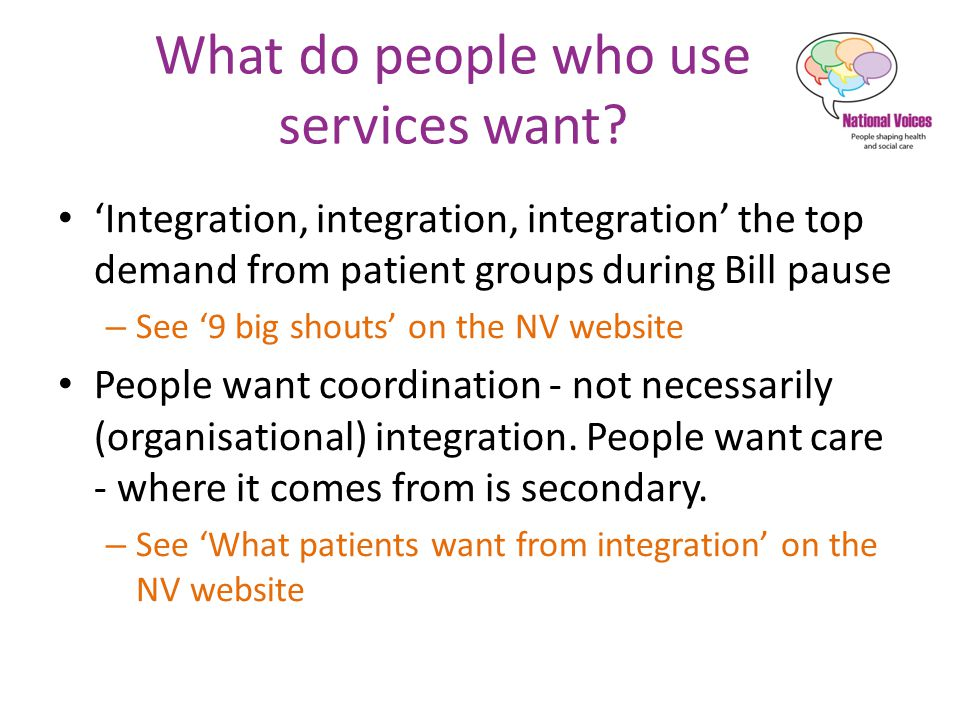 What do people who use services want.
