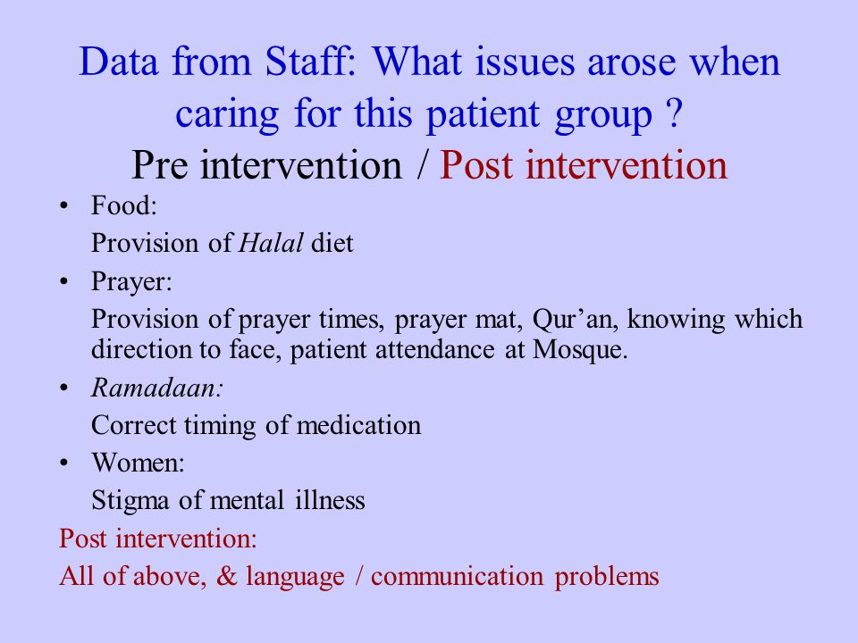 Data from Staff: What issues arose when caring for this patient group .