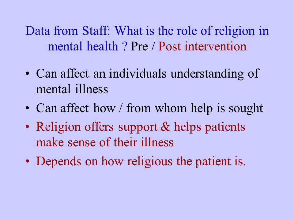 Data from Staff: What is the role of religion in mental health .