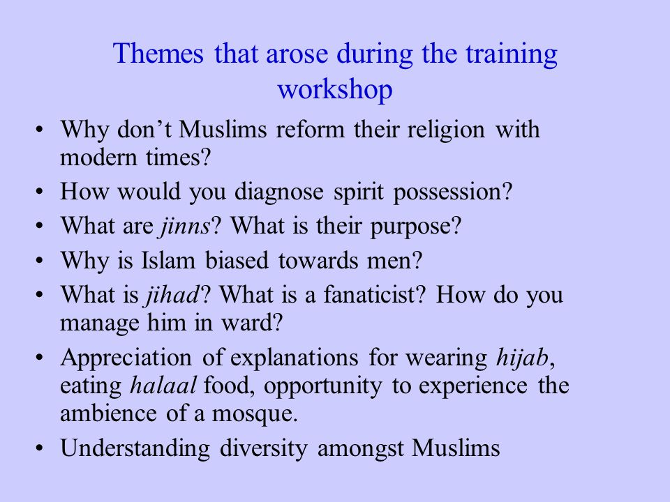 Themes that arose during the training workshop Why don't Muslims reform their religion with modern times.