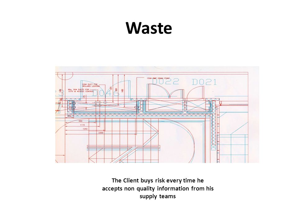 The Client buys risk every time he accepts non quality information from his supply teams Waste