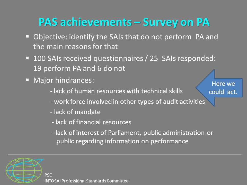PSC INTOSAI Professional Standards Committee PAS achievements – Survey on PA  Objective: identify the SAIs that do not perform PA and the main reasons for that  100 SAIs received questionnaires / 25 SAIs responded: 19 perform PA and 6 do not  Major hindrances: - lack of human resources with technical skills - work force involved in other types of audit activities - lack of mandate - lack of financial resources - lack of interest of Parliament, public administration or public regarding information on performance Here we could act.