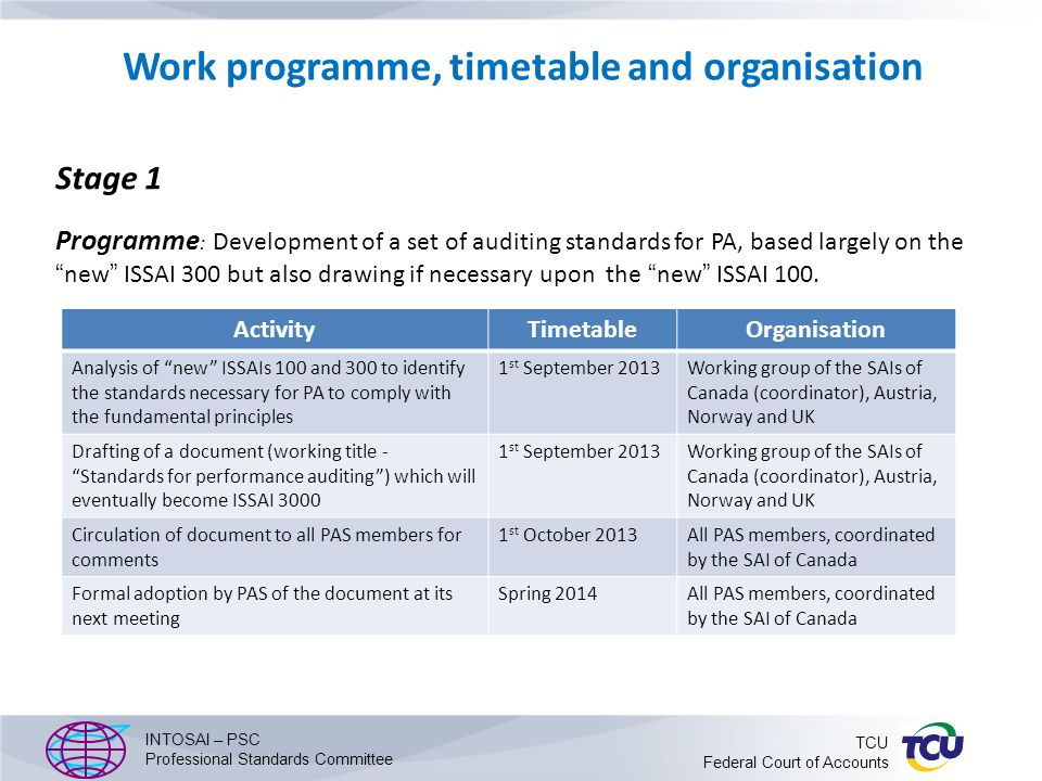 Work programme, timetable and organisation Stage 1 Programme : Development of a set of auditing standards for PA, based largely on the new ISSAI 300 but also drawing if necessary upon the new ISSAI 100.