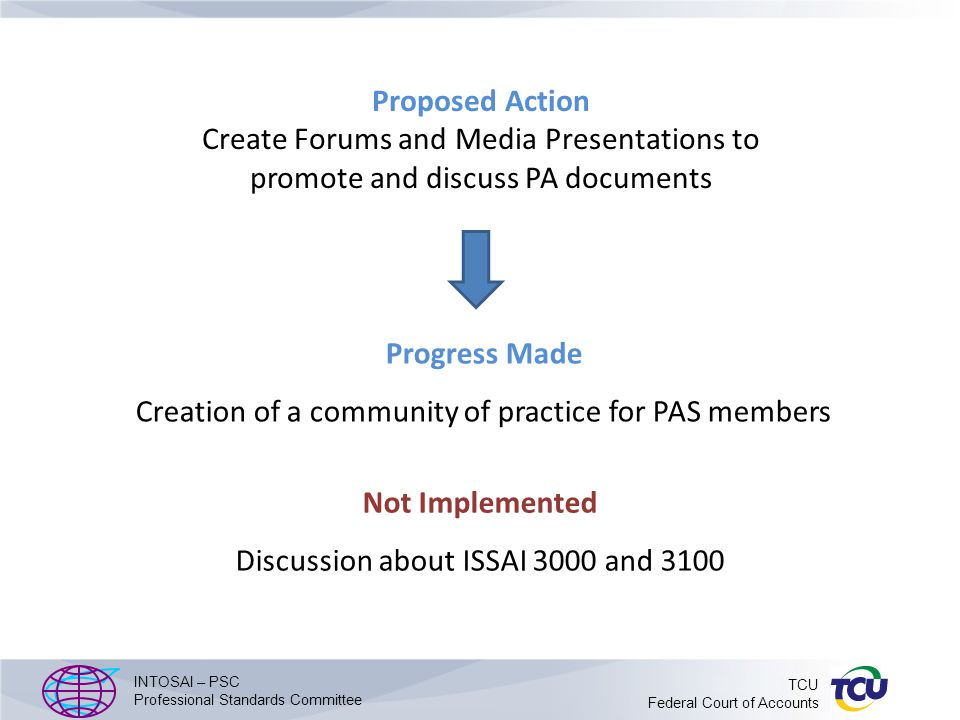 Project proposal Adaptation of the level 4 performance audit ISSAIs Presented by: Dagomar Henriques Lima June/2013 INTOSAI – PSC Professional Standards Committee TCU Federal Court of Accounts