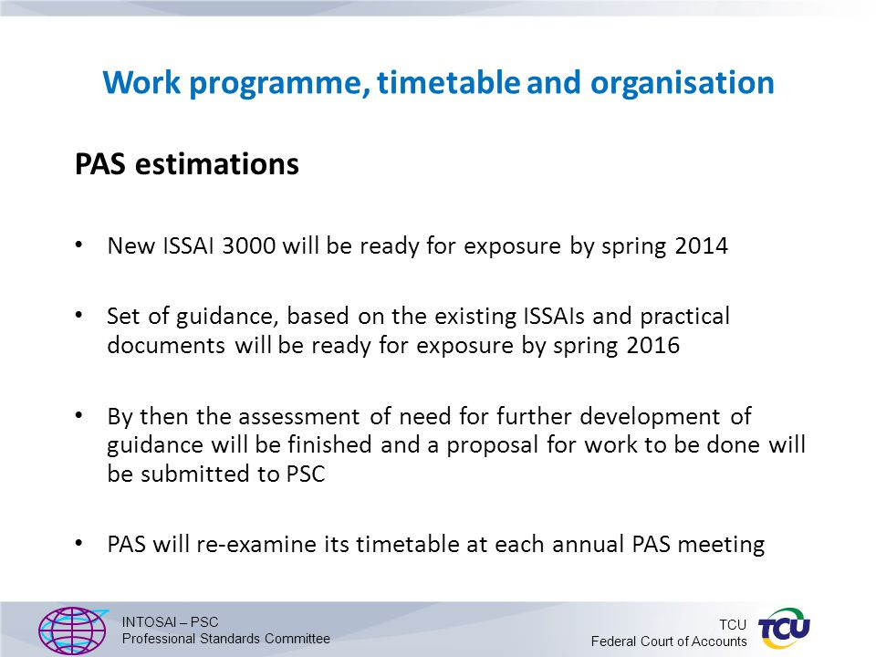 Work programme, timetable and organisation PAS estimations New ISSAI 3000 will be ready for exposure by spring 2014 Set of guidance, based on the existing ISSAIs and practical documents will be ready for exposure by spring 2016 By then the assessment of need for further development of guidance will be finished and a proposal for work to be done will be submitted to PSC PAS will re-examine its timetable at each annual PAS meeting INTOSAI – PSC Professional Standards Committee TCU Federal Court of Accounts