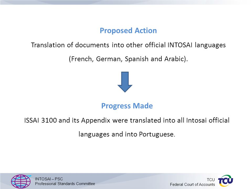 Proposed Action Translation of documents into other official INTOSAI languages (French, German, Spanish and Arabic).