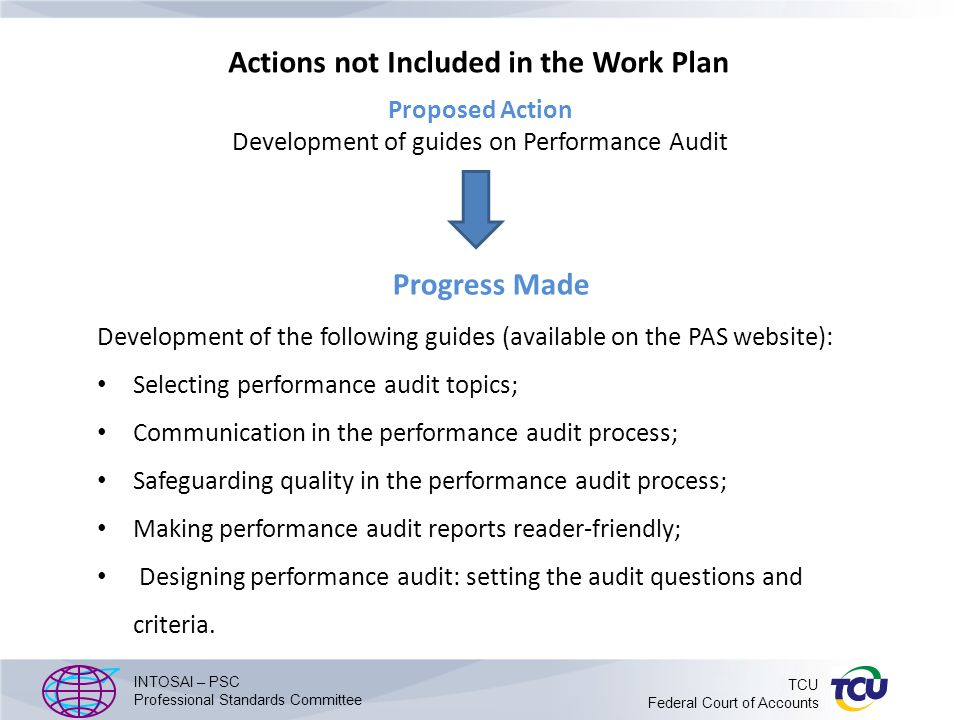 Actions not Included in the Work Plan Progress Made Development of the following guides (available on the PAS website): Selecting performance audit topics; Communication in the performance audit process; Safeguarding quality in the performance audit process; Making performance audit reports reader-friendly; Designing performance audit: setting the audit questions and criteria.