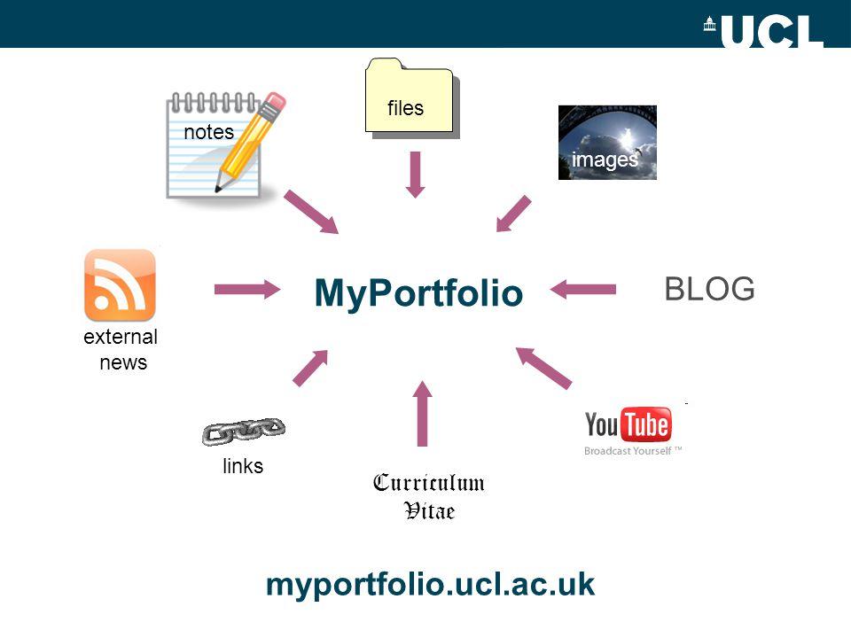 MyPortfolio Curriculum Vitae BLOG images files external news notes links myportfolio.ucl.ac.uk