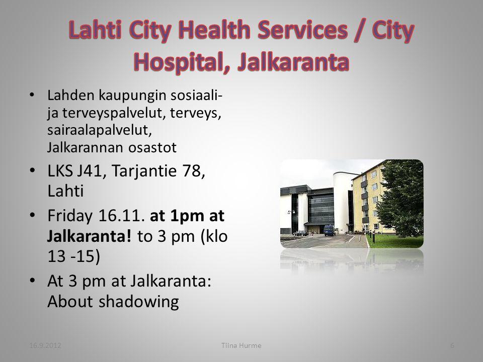 Lahden kaupungin sosiaali- ja terveyspalvelut, terveys, sairaalapalvelut, Jalkarannan osastot LKS J41, Tarjantie 78, Lahti Friday 16.11.